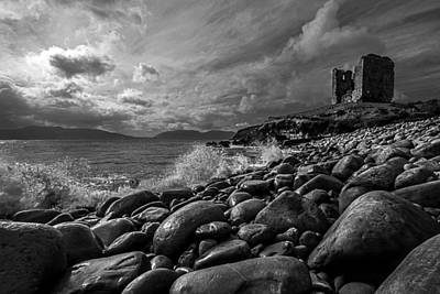 Minard Castle On Storm Beach -black And White Art Print