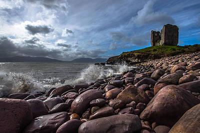 Minard Castle On Storm Beach Art Print by DM Photography- Dan Mongosa