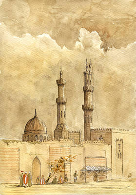 Orientalist Painting - Minaret Of Al Azhar Mosque by Juan  Bosco