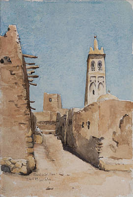 Brick Building Painting - Minaret Of Sidi Okba, 18th April 1889  by Henri Duhem