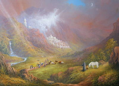 The Shire Painting - Minas Tirith  War Approaches. by Joe  Gilronan