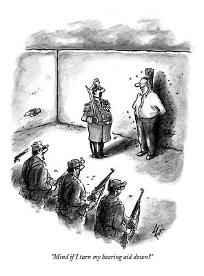 Military Drawing - Mind If I Turn My Hearing Aid Down? by Frank Cotham