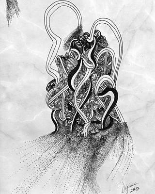Pointalism Drawing - Mind In Confusion by Dyana Schoenstadt