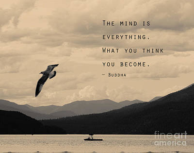 Mind Is Everything- Buddha Quote Art Print by Stella Levi