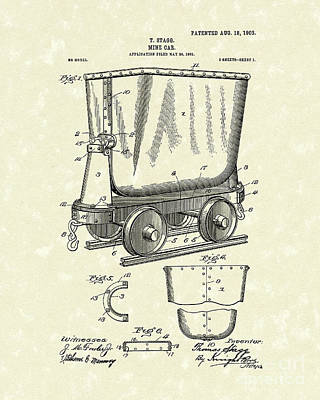 Drawing - Mine Car 1903 Patent Art by Prior Art Design