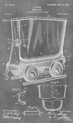 Gold Pan Drawing - Mine Cart Patent by Dan Sproul