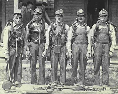 Old Miner Photograph - Mine Rescue Team by Retro Images Archive