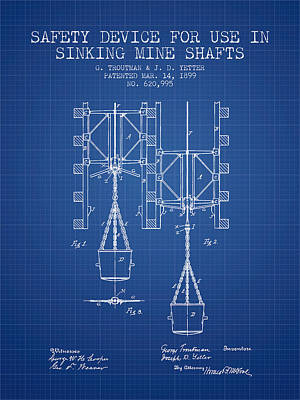 Mine Shaft Safety Device Patent From 1899 - Blueprint Art Print by Aged Pixel
