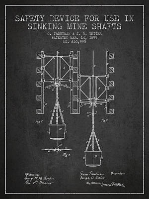 Mine Shaft Safety Device Patent From 1899 - Charcoal Art Print by Aged Pixel
