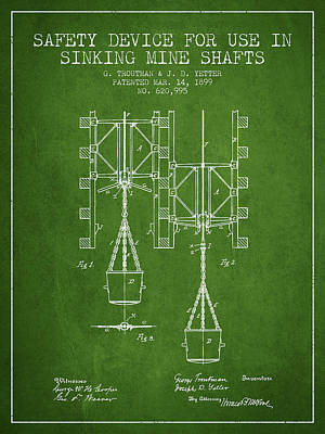 Mine Shaft Safety Device Patent From 1899 - Green Art Print by Aged Pixel