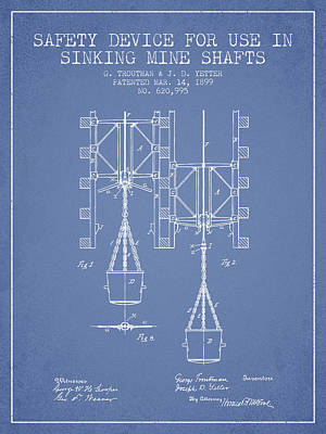 Mine Shaft Safety Device Patent From 1899 - Light Blue Art Print by Aged Pixel