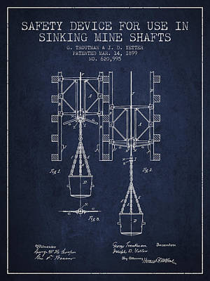Mine Shaft Safety Device Patent From 1899 - Navy Blue Art Print by Aged Pixel