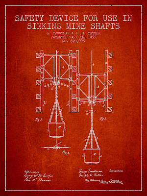 Mine Shaft Safety Device Patent From 1899 - Red Art Print by Aged Pixel