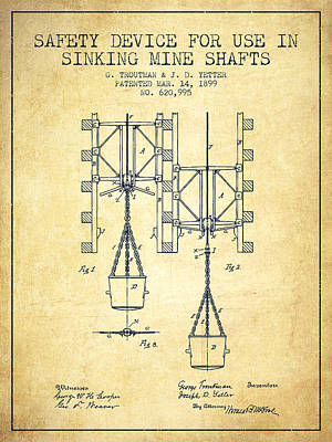 Mine Shaft Safety Device Patent From 1899 - Vintage Art Print by Aged Pixel