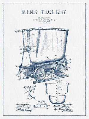 Mine Trolley Patent Drawing From 1903- Blue Ink Art Print by Aged Pixel