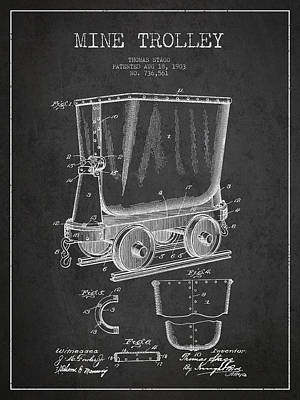Mine Trolley Patent Drawing From 1903 - Dark Art Print by Aged Pixel
