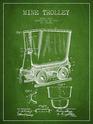 Mine Trolley Patent Drawing From 1903 - Green Art Print by Aged Pixel