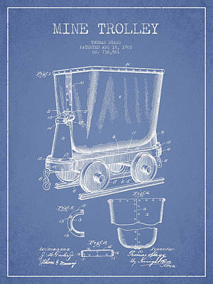 Mine Trolley Patent Drawing From 1903 - Light Blue Art Print by Aged Pixel