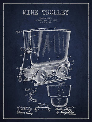 Mine Trolley Patent Drawing From 1903 - Navy Blue Art Print by Aged Pixel