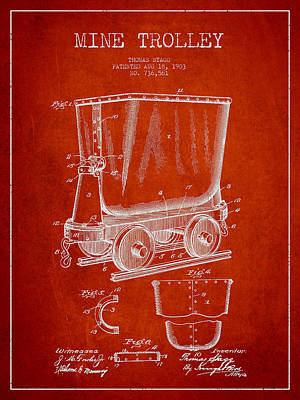 Mine Trolley Patent Drawing From 1903 - Red Art Print by Aged Pixel