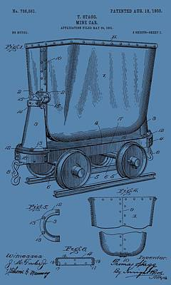 Gold Pan Digital Art - Mine Trolley Patent On Blue by Dan Sproul
