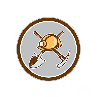 Pick Axe Digital Art - Miner Hardhat Spade Pick Axe Circle Retro by Aloysius Patrimonio