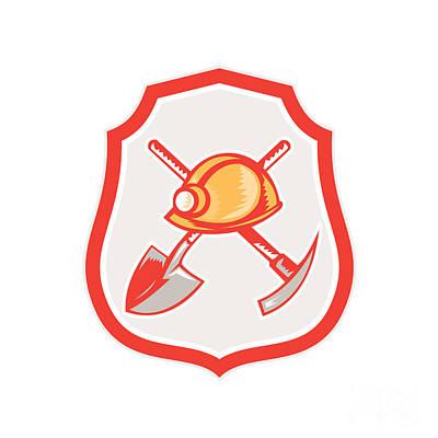 Pick Axe Digital Art - Miner Hardhat Spade Pick Axe Shield Retro by Aloysius Patrimonio