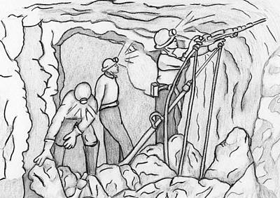 Drawing - Miners At Work by Amanda Balough