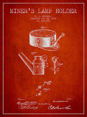 Miners Lamp Holder Patent From 1890 - Red Art Print by Aged Pixel