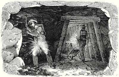Electricity Drawing - Miners Lamp. Miners At Work by English School