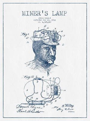 Miners Lamp Patent Drawing From 1913- Blue Ink Art Print by Aged Pixel