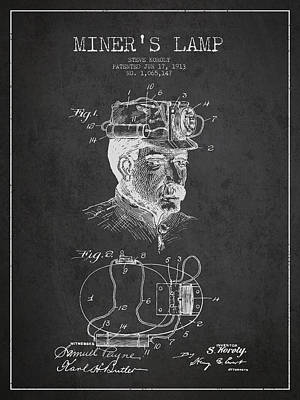 Miner Drawing - Miners Lamp Patent Drawing From 1913 - Dark by Aged Pixel
