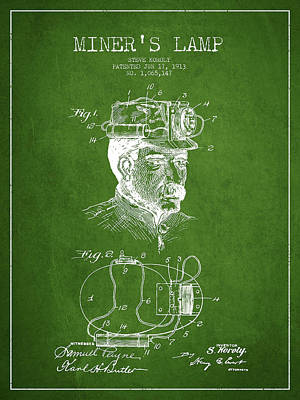 Miners Lamp Patent Drawing From 1913 - Green Art Print by Aged Pixel