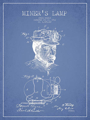Miner Drawing - Miners Lamp Patent Drawing From 1913 - Light Blue by Aged Pixel