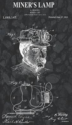 Lamp Mixed Media - Miner's Lamp Patent On Coal by Dan Sproul