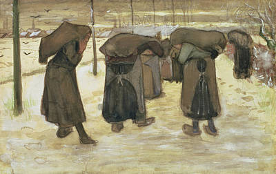 Bent Painting - Miners Wives Carrying Sacks Of Coal by Vincent van Gogh