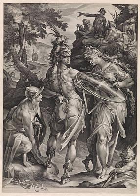 Medusa Drawing - Minerva And Mercury Arm Perseus by Jan Harmensz. Muller And Bartholomeus Spranger