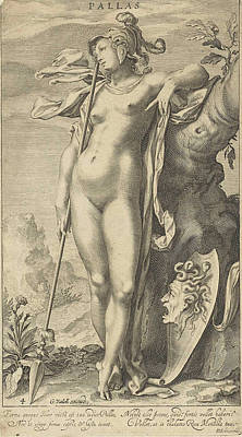Gorgon Drawing - Minerva In A Tree by Willem Isaacsz. Van Swanenburg And Michiel Jansz Van Mierevelt And Petrus Scriverius