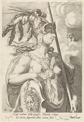 Medusa Drawing - Minerva, Jan Saenredam, Cornelius Schonaeus by Jan Saenredam And Cornelius Schonaeus And Claes Jansz. Visscher (ii)