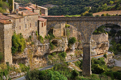 Minerve Village And The Bridge Art Print by Panoramic Images