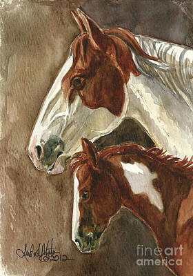 Mustang A Day Challenge Painting - Mingo And Mimi by Linda L Martin