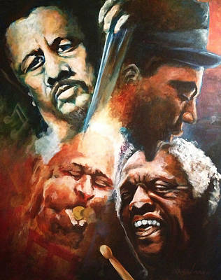 Painting - Mingus Monk Blakey And Gillespie Playing Jazz by Ka-Son Reeves