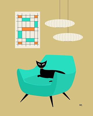 Eames Chair Wall Art - Digital Art - Mini Abstract With Aqua Chair by Donna Mibus