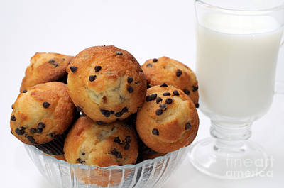 Photograph - Mini Chocolate Chip Muffins And Milk - Bakery - Snack - Dairy - 2 by Andee Design