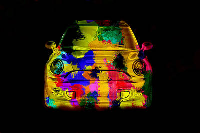 Mini Cooper Colorful Abstract On Black Art Print