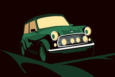 Austin Digital Art - Mini Cooper Green by Michael Tompsett