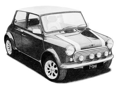 Drawing - Mini Cooper by Milan Surkala
