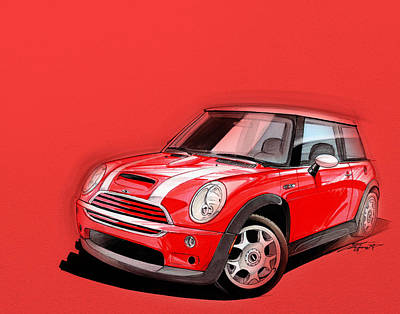 Urban Art Digital Art - Mini Cooper S Red by Etienne Carignan