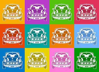 Digital Art - Mini Cooper Squares by Michael Tompsett