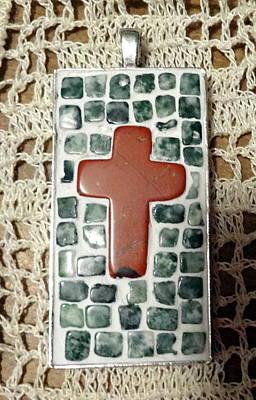Mini Cross Mosaic Pendant 11 Original by Kathleen Luther